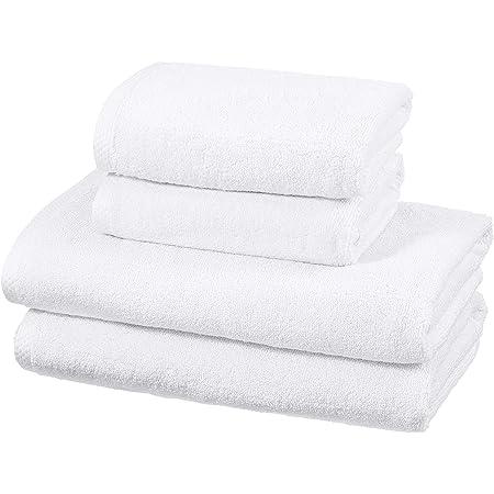 Amazon Basics - Juego de 4 toallas de secado rápido, 2 toallas de baño y 2 toallas de mano - Blanco