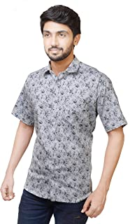Relish Shirts Casual Half Sleeve Printed Shirt for Men |Cotton|Blue,Off-White,Yellow|40,42,44|Regular Fit|Men's Casual Printed Half Sleeve Shirt|Ditsy Floral Prints