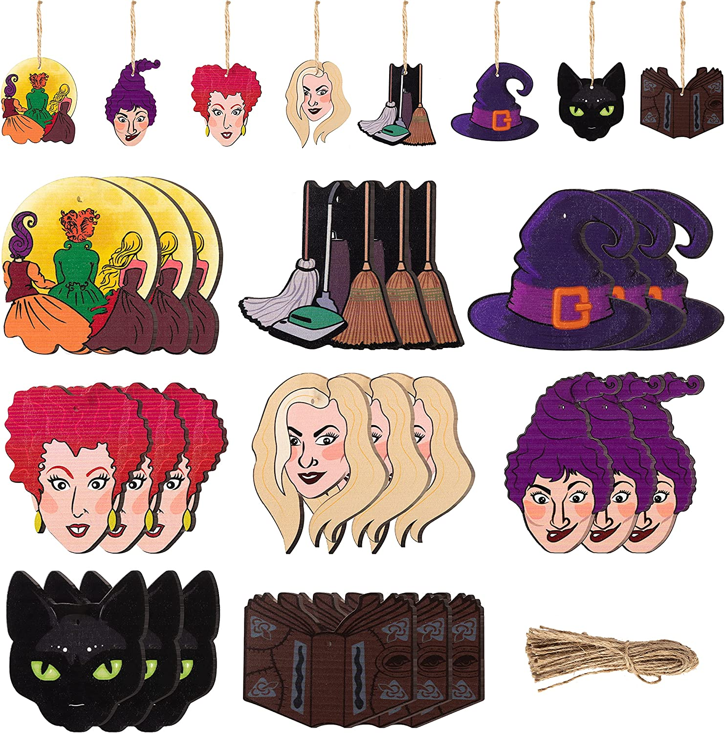 A1diee 24 Pcs Hocus Pocus Halloween Wooden Hanging Ornaments Witch Hat Black Cat I Smell Children Witch Wood Slices Cutouts with Twine Rope for Trick or Treat Party Supplies Decor Pendant Hanging Tag