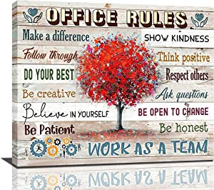 Inspirational Wall Art For Office Motivational Quotes Wall Decor Office Rules Work As A Team Framed Canvas Wall Art Modern Office Wall Decor Office Size, 24x20 Inch