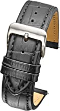 Heavy Padded & Stitched Genuine Leather Alligator Grain Watch Band in Extra Long Length for Wider Wrists ONLY- Black, Brown in Sizes 18XL, 20XL, 22XL, 24XL, 26XL (fits Wrist Sizes 7 1/2 to 9 inch)