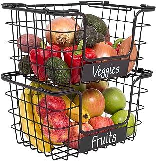 Sponsored Ad - BirdRock Home Stacking Wire Market Baskets with Chalk Label - Set of 2 - Fruit Vegetable Produce Metal Stor...