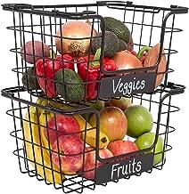 BIRDROCK HOME Stacking Wire Market Baskets with Chalk Label - Set of 2 - Fruit Vegetable Produce Metal Storage Bin for Kitchen Counter - Black