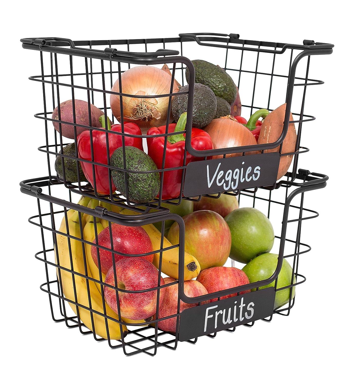 BirdRock Home Stacking Wire Market Baskets with Chalk Label   Set of 2   Fruit Vegetable Produce Metal Storage Bin for Kitchen Counter   Black