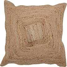 Bloomingville Natural Square Woven Cotton and Jute Blend Pillow