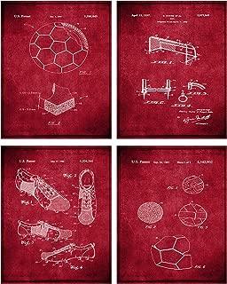TheNameStore Soccer Patent Print Wall Art - Set of Four Fine Art Photos 8x10 Unframed - Great Gift for Soccer Player Decor (Burgundy)