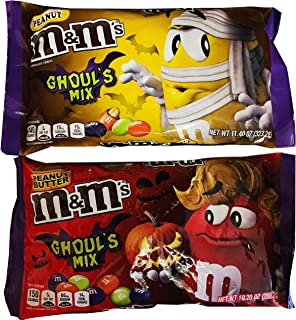 M&M's Ghouls Mix Chocolate Candies Pack Of 2! 2 Flavors, Peanut 11.40 Oz And Peanut Butter 10.20 Oz! Delicious Crunchy Halloween Chocolate Candy! Choose Your Flavors! (Peanut & Peanut Butter)