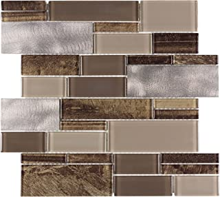 MTO0005 | Modern Linear Brown Metallic Glossy Metallic Glass Metal Tile