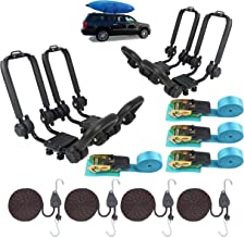 2 Pairs Upgraded Double Folding Kayak Rack J-Bar Car Roof Rack for Canoe Carrier Paddle Board Surfboard Mount on Car SUV Crossbar with 4 Pcs 10Ft S-hook Rated Ratchet Pulley Straps & Ratchet Straps