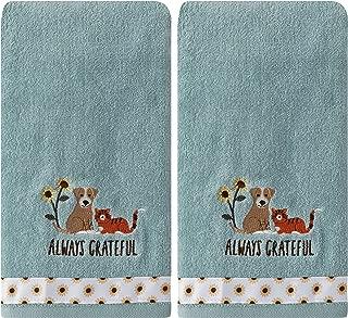SKL Home by Saturday Knight Ltd. Always Grateful Pets 2 Pc Hand Towel Set, Aqua