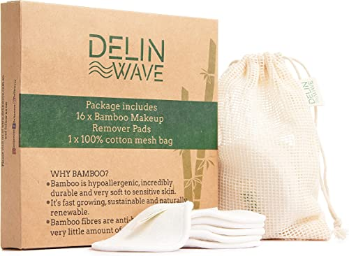 Delin Wave Reusable Makeup Remover Pads Pack of 16 with Mesh Washing Bag - Cotton Rounds for Makeup Removal for All S...