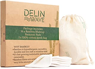 Delin Wave Reusable Makeup Remover Pads Pack of 16 with Mesh Washing Bag - Cotton Rounds for Makeup Removal for All Skin T...