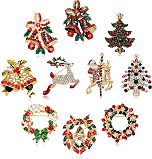 Fesciory 10 Pieces Christmas Brooch Pins Set for Women, Multi-Colored Rhinestone Crystal Christmas Jewelry Gifts for Girls Including Christmas Tree, Santa Claus, Jingle Bells, Reindeer