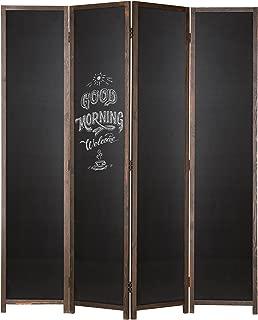 MyGift 4-Panel Chalkboard Wood Frame Room Divider with Dual-Hinges, Dark Brown