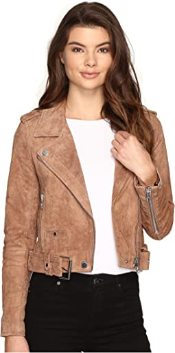 Blank NYC Camel Suede Moto Jacket in Coffee Bean