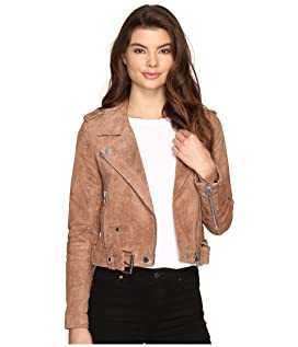 Camel Suede Moto Jacket in Coffee Bean