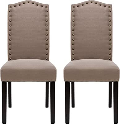 Nobpeint Upholstered Dining Room Chair Set With Copper Nailhead Trims Arched Backrest Armless Design Padded Cushion Set Of 2 Gray Chairs