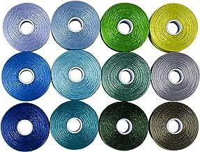 s-lon Beading Thread mezcla 12colores tamaño D–azules y verdes