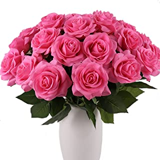 KISMEET Artificial Roses Fake Silk Flowers Real Touch Long Stem for Wedding Party Home Office Outdoor Craft Decoration, Pack of 10 (Pink)