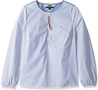 Women's Adaptive Striped Tunic with Extended Zipper Pull