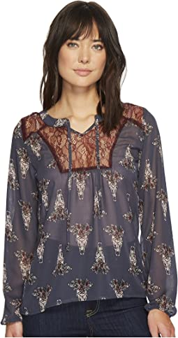 Cruel - Embroidered Peasant Sleeve Blouse