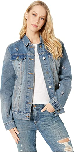 Tossed Roses Embroidered Denim Jacket