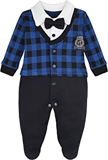 Lilax Baby Boys Gentleman Tuxedo with Bow Tie Outfit Footie