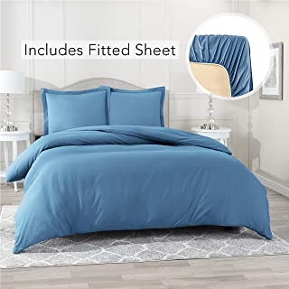 Nestl Bedding Duvet Cover with Fitted Sheet 4 Piece Set - Soft Double Brushed Microfiber Hotel Collection - Comforter Cover with Button Closure, Fitted Sheet, 2 Pillow Shams, Cal King - Blue Heaven