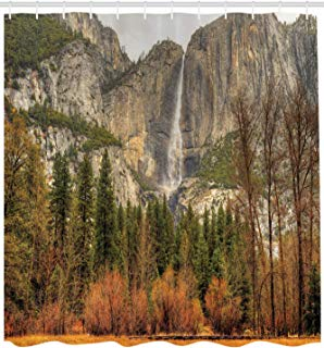 "Ambesonne Yosemite Shower Curtain, Yosemite Falls Trees Mountain Cliff Autumn National Park California Nature Print, Cloth Fabric Bathroom Decor Set with Hooks, 84"" Extra Long, Orange Green"