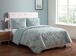 Morgan Home Printed 3 Piece Reversible Quilt Set with Shams – All Season Comfort, Available in, Colors & Sizes (Seashell Aqua, Full/Queen)