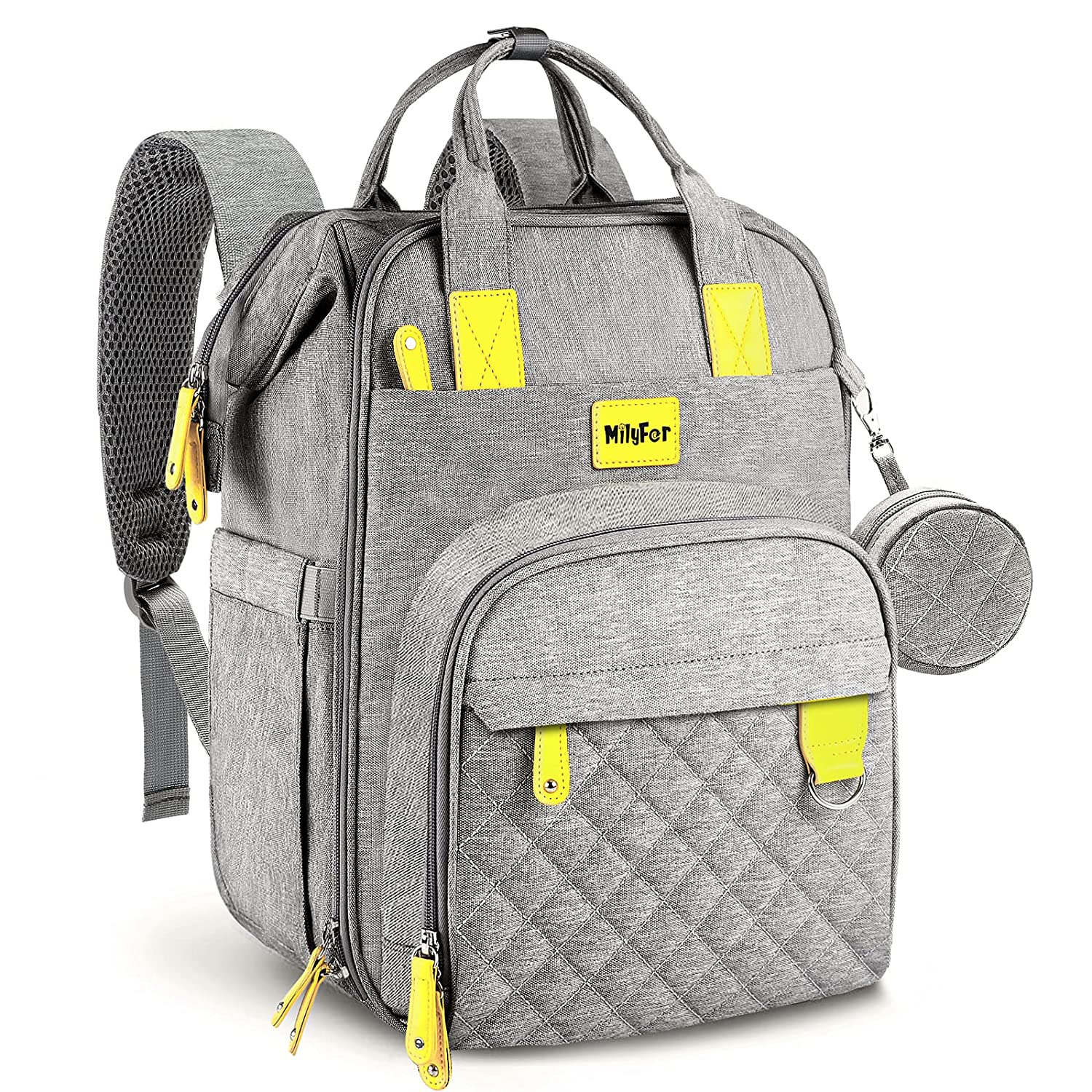 Diaper Bag Backpack, MILYFER Large Baby Nappy Changing Bags for Boys Girls, Waterproof Travel Bag Backpack with Changing Pad, Insulated Pockets, Stroller Straps and Pacifier Case, Gray