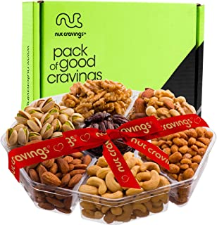 Gourmet Gift Basket Assortment, Fresh Nuts Mix Tray (7 Variety) - Edible Care Package Set, Birthday Party Food Arrangement Platter - Healthy Snack Box for Families, Women, Men, Adults - Prime Delivery