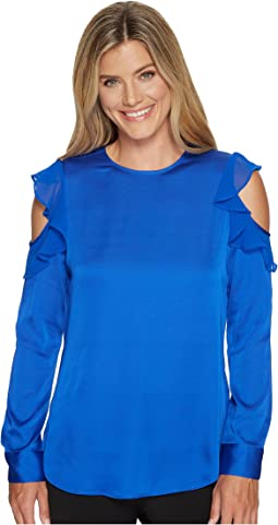 Calvin Klein - Cold Shoulder Top with Flutter