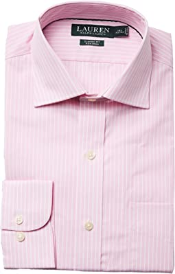 Classic Fit Non Iron Poplin Stripe Spread Collar Dress Shirt