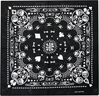 Black Bandana Playing Card Head Scarf with Double-sided White Skull Design