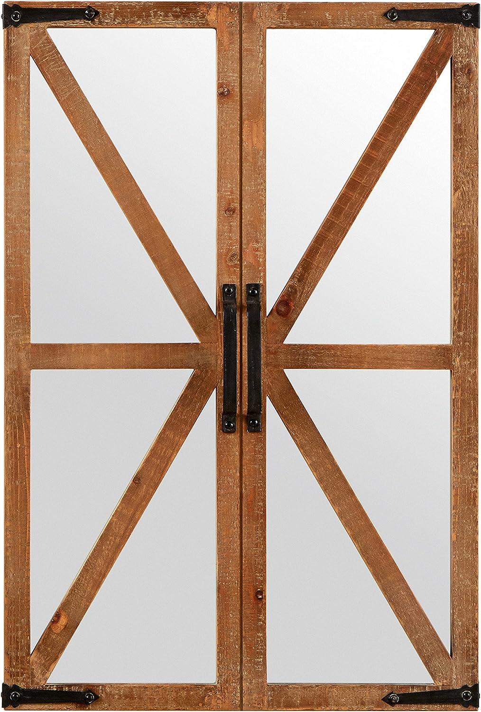 Stone & Beam Rustic Wood and Iron Barn Door Mirror, 30  H, Natural