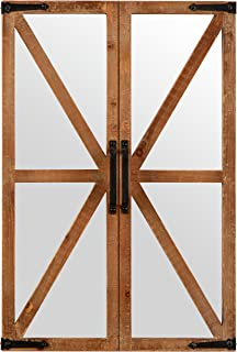 Stone & Beam Rustic Wood and Iron Barn Door Hanging Wall Mirror Decor, 30 Inch Height, Natural