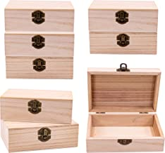 Upper Midland Products 8 Pk Wooden Boxes for Crafts, Unfinished Wood Boxes 5.875 in x 3.8 in x 2 in