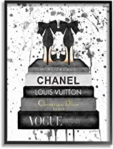 Stupell Industries Glam Fashion Book Stack Grey Bow Pump Heels Ink Framed Giclee Texturized Art, Proudly Made in USA