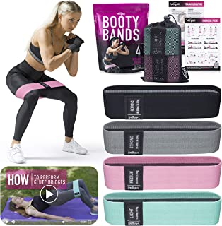 Vergali Fabric Booty Bands for Women Butt and Legs. Set of 4 Non Slip, Cloth Resistance Working Out Band for Glute, Thigh, Squat with Online Resistant Fitness Training Guide to Exercise at Home or Gym