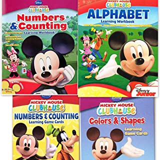 Mickey Mouse Clubhouse Workbook and Flashcard Learning Bundle (Set of 4) includes (1) Numbers & Counting Learning Flash Cards + (1) Colors and Shapes Learning Flash Cards + (1) Alphabet Learning Workbook + (1) Numbers and Counting Learning Workbook by Disney