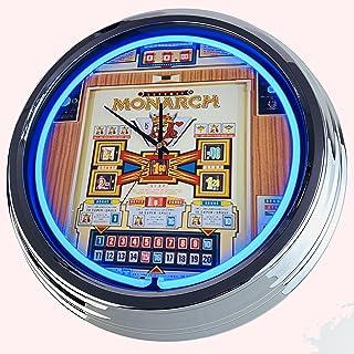 Reloj de neón con diseño de monarca, reloj decorativo con luz, estilo de los años 50, retro, reloj de neón, para comedor, ...
