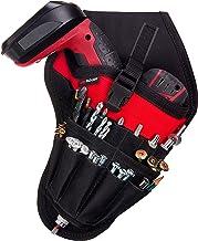 Cartuchera para taladro de NoCry, ajuste equilibrado para taladros inalámbricos, bolsillos para accesorios y bucles abiertos para almacenamiento de herramientas y brocas, con enganche para cinturón