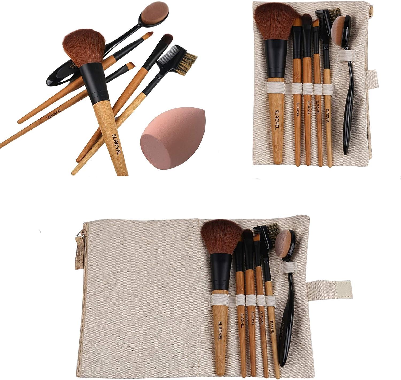 Brissa España. Brochas de Maquillaje Baratas. Set Brochas Pinceles Imprescindibles Ecológicas para Maquillaje Básico, Iniciación, Bolso, Viaje.
