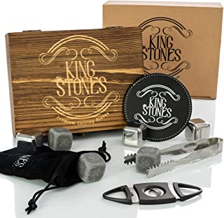 Whiskey Stones Gift Set - Kit with Large Rocks & Stainless Steel Ice Cubes for Chilling Scotch & Bourbon - Engraved Box, Cigar Cutter, 1 Leather Coaster, Tong & Velvet Bag-Whiskey Accessories for Men