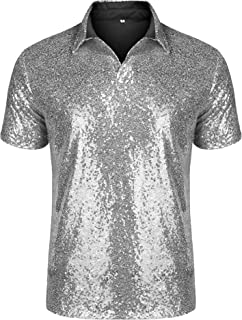 URRU Men's Relaxed Short Sleeve Turndown Sparkle Sequins Polo Shirts 70s Disco Nightclub Party T-Shirts Tops S-3XL