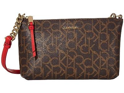 Calvin Klein Hayden Monogram Crossbody (Poppy) Cross Body Handbags