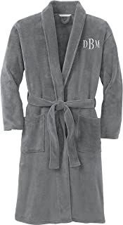 Personalized Plush Microfleece Robe with Embroidered Name, Smoke