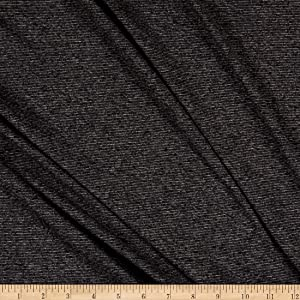 Fabric Merchants Splendid Apparel Rayon Spandex Jersey Knit Heathered Stripe Fabric, Charcoal