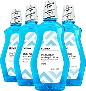 Amazon Brand - Solimo Multi Action Antiseptic Rinse, Alcohol Free, Fresh Mint, 1 Liter (Pack of 4)